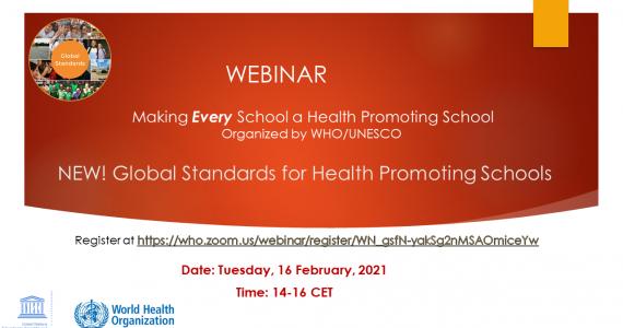 Webinar: Global Standards for Health Promoting Schools