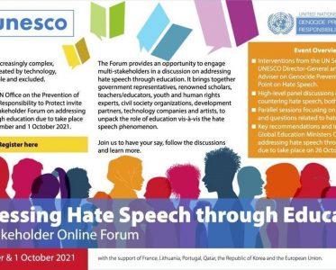 Addressing hate speech through education – Multi-stakeholder online forum